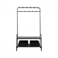 BLACK METAL GARDEROBE STAND WITH 2 BOXES - CABINETS, SHELVES