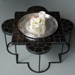 MOROCCAN MOSAIC CAFETABLE BLACK     - CAFE, SIDETABLES