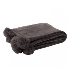 G MAMA BLANKET WITH POMPOM POLY DARK GREY