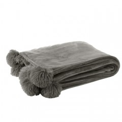G MAMA BLANKET WITH POMPOM POLY LIGHT GREY    - BLANKETS