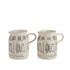 G MAMA PITCHER ETHNIC WHITE CERAMIC