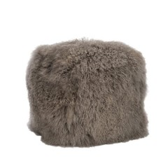 HASSOCK SQUARE LAMBS WOOL GREY