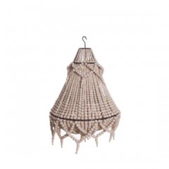NATURAL WOODEN PEARL CHANDELIER WITH EXTRA CHAIN      - HANGING LAMPS