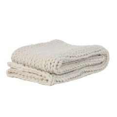 HEAVY KNITTED BLANKET CREAM