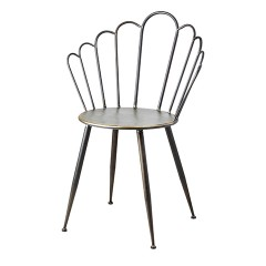 DINING CHAIR PROVENCE BLACK BRASS METAL