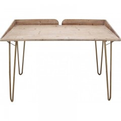 DESK TABLE NATURAL WOOD COPPER COLORED METAL LEG