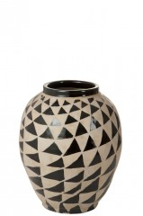 VASE CERAMICS BEIGE BLACK TRIANGLE 60