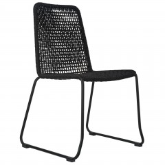 CHAIR ROPE WOVEN BLACK OUTDOOR