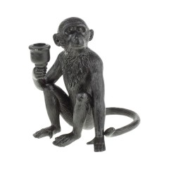 DECO CANDLE HOLDER BLACK MONKEY POLY