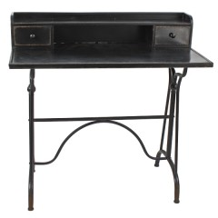 DESK TABLE BLACK IRON SECRETARY