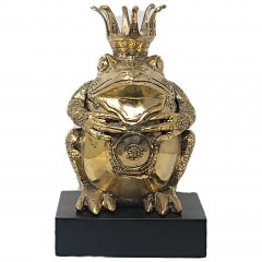 BRONZ KING FROG COLORED GOLD ON STAND - BRONZE STATUES