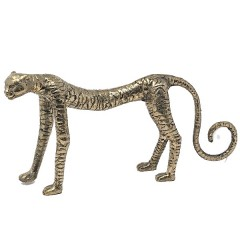 BRONZE CHEETAH GOLD COLORED - BRONZE STATUES