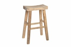 NATURAL WOOD PAGODA BAR STOOL