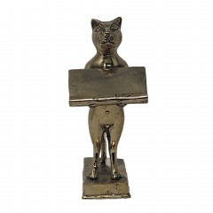 CAT CARD TRAY BRASS GOLD COLORED - BRONZE STATUES