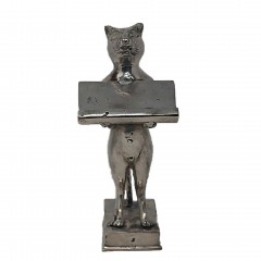 CAT CARD TRAY BRASS SILVER COLORED - BRONZE STATUES