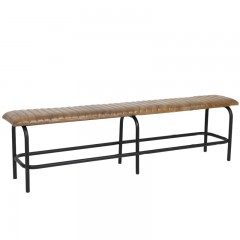 BENCH ANTIQUE BROWN LEATHER