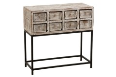CONSOLE 8 DRAWER WHITE WASHED