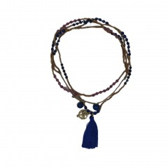 ETHNO NECKLACE GOLD AND BLUE PEARL