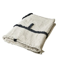 BLACK AND WHITE SIGNES BLANKET    - BLANKETS