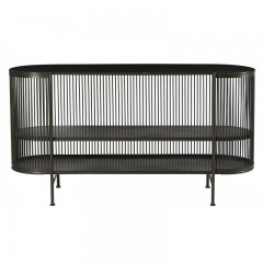 CONSOL CURVED WITH SHELF BLACK METAL