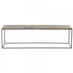 CONSOL TABLE LOW ANTIK SILVER METAL
