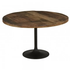 DINING TABLE BROWN TOP METAL LEG