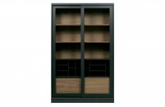 CABINET BLACK NATURAL WOOD WITH SLIDING DOOR