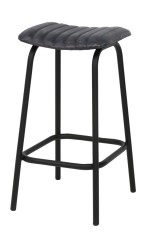 BARSTOOL LEATHER GREY STITCHED