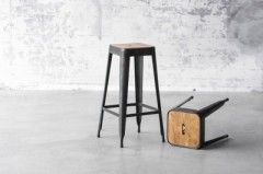 METAL BAR STOOL WOOD TOP