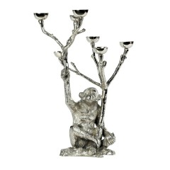 HOME DECO NICKEL MONKEY CANDLE HOLDER 40    - CANDLE HOLDERS