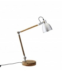 Wood Table Lamp with Aluminium Shade     - TABLE LAMPS
